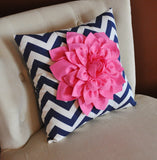 MOTHERS DAY SALE Pink Dahlia on Navy and White Zigzag Pillow - Chevron Pillow -