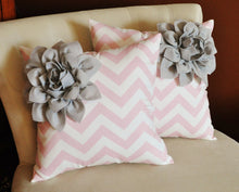 Load image into Gallery viewer, Red Corner Dahlia on Aqua and White Zigzag Pillow -Chevron Pillow- - Daisy Manor