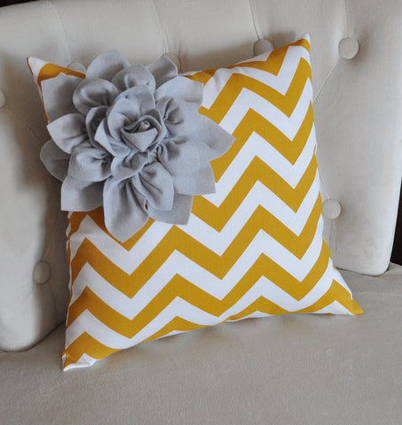 Gray Corner Dahlia on Mustard and White Zigzag Pillow 14 X 14 Chevron Flower - Pillows - Zig Zag Pillows