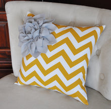 Load image into Gallery viewer, Gray Corner Dahlia on Mustard and White Zigzag Pillow 14 X 14 Chevron Flower - Pillows - Zig Zag Pillows - Daisy Manor