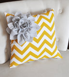 MOTHERS DAY SALE Yellow Decorative Pillow -- White Corner Flower on Yellow Pillow 14 X 14  - Nursery Decor Pillows