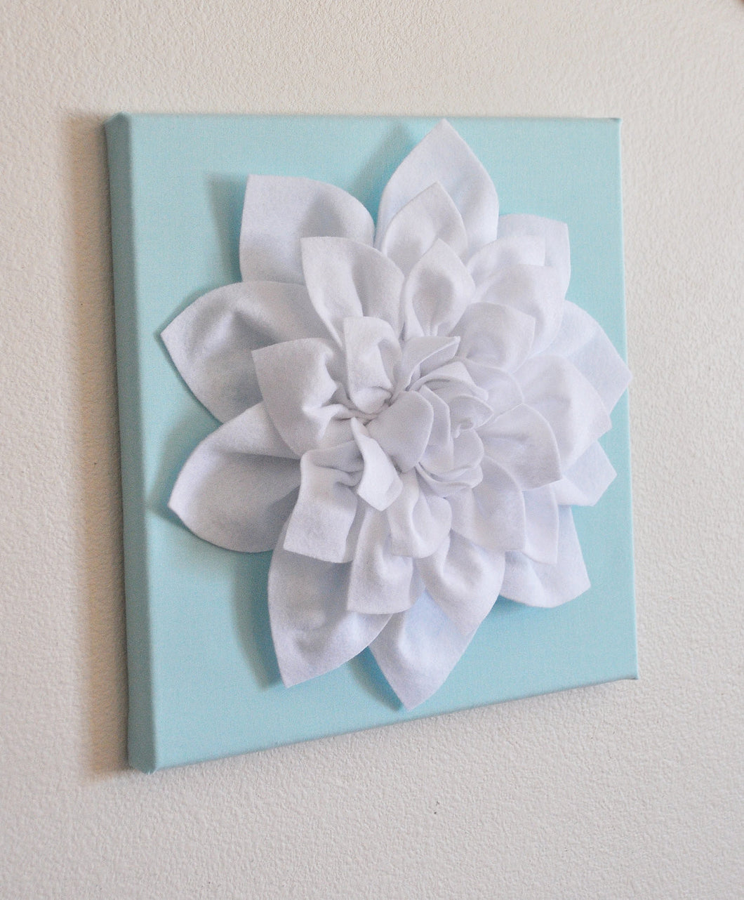 Wall Flower -White Dahlia on Aqua 12 x12