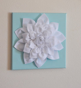 "Wall Flower -White Dahlia on Aqua 12 x12"" Canvas Wall Art- 3D Felt Flower - Daisy Manor"