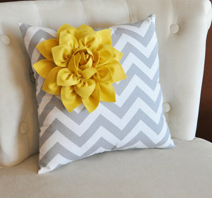 Lilac Corner Dahlia on Gray Pillow 14 X 14 -Flower Pillow- Baby Nursery Pillow - Daisy Manor