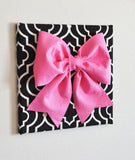 "MOTHERS DAY SALE Large Pink Bow on Gray and White Chevron 12 x12"" Canvas Wall Art- Baby Nursery Wall Decor- Zig Zag"