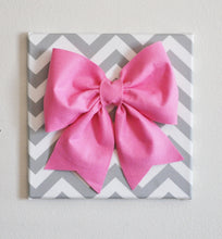 "Load image into Gallery viewer, Wall Decor - Large Pink Bow on Black and White Chevron 12 x12"" Canvas Wall Art- Baby Nursery Wall Decor- Zig Zag - Daisy Manor"