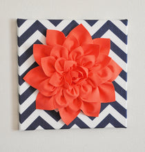 "Load image into Gallery viewer, Wall Flower -Coral Dahlia on Navy and White Chevron 12 x12"" Canvas Wall Art- 3D Felt Flower - Daisy Manor"