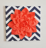 "MOTHERS DAY SALE Wall Flower -Coral Dahlia on Navy and White Chevron 12 x12"" Canvas Wall Art- 3D Felt Flower"