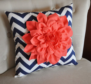 "Wall Flower -Coral Dahlia on Navy and White Chevron 12 x12"" Canvas Wall Art- 3D Felt Flower - Daisy Manor"