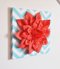 "Load image into Gallery viewer, Wall Flower -Coral Dahlia on Aqua and White Chevron 12 x12"" Canvas Wall Art- 3D Felt Flower - Daisy Manor"