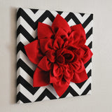 "MOTHERS DAY SALE Red Wall Flower -Red Dahlia on Black and White Chevron 12 x12"" Canvas Wall Art- Baby Nursery Wall Decor-"