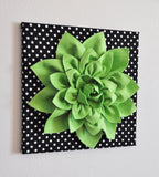 "Home Decor - Rose Wall Hanging- Fuchsia  Rose on Black and  White Polka Dot 12 x12"" Canvas Wall Art- 3D Felt Flower"