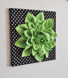 "Wall Flower -Chartreuse Green Dahlia on Black and  White Polka Dot 12 x12"" Canvas Wall Art- 3D Felt Flower - Daisy Manor"