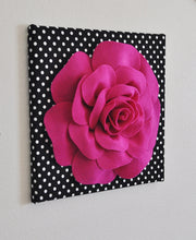 "Load image into Gallery viewer, Wall Flower -Chartreuse Green Dahlia on Black and  White Polka Dot 12 x12"" Canvas Wall Art- 3D Felt Flower - Daisy Manor"