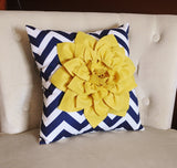 MOTHERS DAY SALE Mellow Yellow Dahlia on Navy and White Zigzag Pillow -Chevron Pillow-