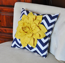 Load image into Gallery viewer, Mellow Yellow Dahlia on Navy and White Zigzag Pillow -Chevron Pillow- - Daisy Manor