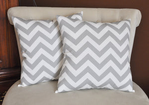 Two -Gray and White Zigzag Pillows -Chevron Pillows- Stuffed Pillows- 14 x 14 - Daisy Manor