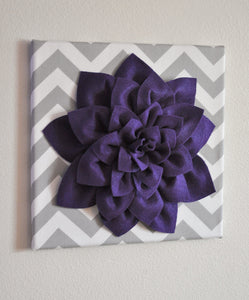 "Two Deep Purple Dahlia on Gray and White Polka Dot 12 x12"" Canvas Wall Art - Daisy Manor"