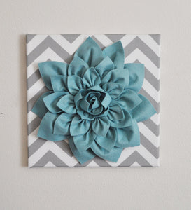 "Wall Flower -Dusty Blue Dahlia on Gray and White Chevron 12 x12"" Canvas Wall Art- Baby Nursery Wall Decor- - Daisy Manor"