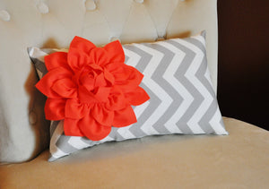 Decorative Lumbar Pillow Yellow Dahlia on Gray and White Zig Zag Chevron Lumbar Pillow 9 x 16 - Daisy Manor