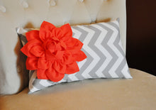 Load image into Gallery viewer, Decorative Lumbar Pillow Pink Dahlia on Gray and White Zig Zag Chevron Lumbar Pillow 9 x 16 - Daisy Manor
