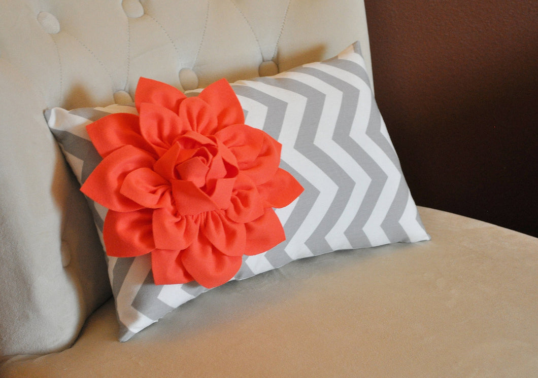 Chevron Lumbar Pillow Coral Dahlia on Gray and White Zig Zag Lumbar Pillow 9 x 16 - Daisy Manor