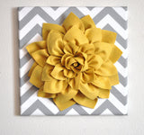"MOTHERS DAY SALE Wall Flower -Mellow Yellow Dahlia on Gray and White Chevron 12 x12"" Canvas Wall Art- 3D Felt Flower"