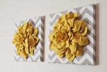 "Load image into Gallery viewer, Mellow Yellow Dahlia on Gray and White Chevron 12 x12"" Canvas Wall Art- 3D Felt Flower - Daisy Manor"