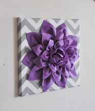 "Load image into Gallery viewer, Wall Decor -Lavender Dahlia on Gray and White Chevron 12 x12"" Canvas Wall Art- Baby Nursery Wall Decor- - Daisy Manor"