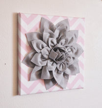 "Load image into Gallery viewer, Two Flower Wall Decor -Gray Dahlias on Light Pink and White Chevron 12 x12"" Canvases Wall Art- Baby Nursery Wall Decor- - Daisy Manor"