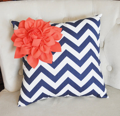 Navy Chevron and Coral Pillow