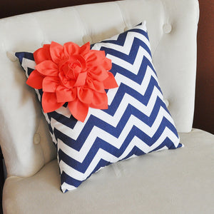 Coral Flower on Navy and White Polka Dot Pillow 14 X 14 - Chevron Flower Pillow - Zig Zag Pillows -Corner Dahlia Pillow - Daisy Manor