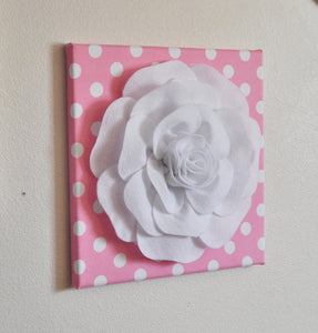 "Nursery Wall Decor -White Rose on Pink with White Polka Dot 12 x12"" Canvas Wall Art- Flower Wall Art - Daisy Manor"