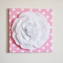"Load image into Gallery viewer, Nursery Wall Decor -White Rose on Pink with White Polka Dot 12 x12"" Canvas Wall Art- Flower Wall Art - Daisy Manor"