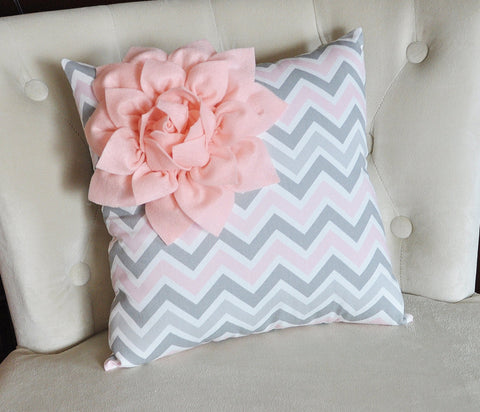 Light Pink / Grey Dahlia Pillow