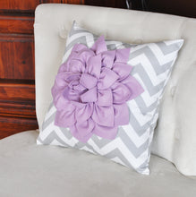 Load image into Gallery viewer, Lilac Dahlia on Gray and White Zigzag Pillow -Decorative Chevron Pillow- - Daisy Manor