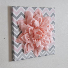 "Load image into Gallery viewer, Nursery Flower Wall Decor - Dahlia Flower Wall Art - 12"" x 12"" Nursery Canvas Wall Decor - Baby Gift - Chevron Pink Flower - Daisy Manor"