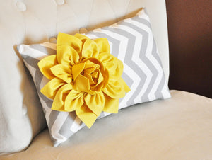 Navy Chevron Lumbar Pillow with a coral Dahlia - Daisy Manor