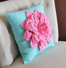 Load image into Gallery viewer, Pink Dahlia on Bright Aqua Pillow 14 x 14 - Daisy Manor