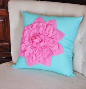 Pink Dahlia on Bright Aqua Pillow 14 x 14 - Daisy Manor