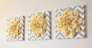"Wall Flower -Light Yellow Dahlia on Gray and White Chevron 12 x12"" Canvas Wall Art- 3D Felt Flower - Daisy Manor"