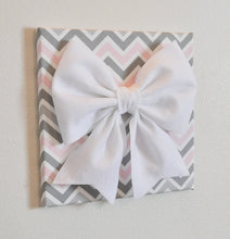 Load image into Gallery viewer, Pink and Grey Nursery Wall Decor Bow Canvas Set - Daisy Manor