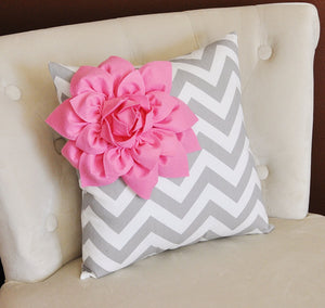 Pink Corner Dahlia on Gray and White Zigzag Pillow 14 X 14 -Chevron Flower Pillow- Zig Zag Pillows - Daisy Manor