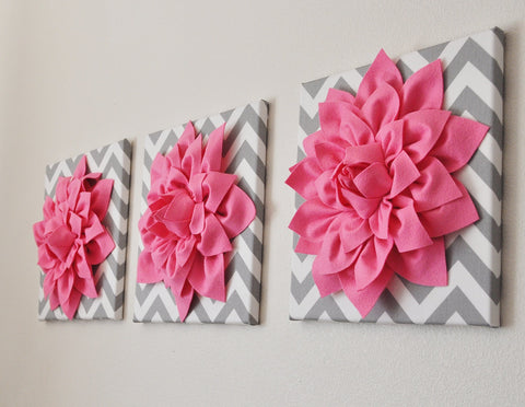 "Set Of Three Pink Dahlias on Gray and White Chevron 12 x12"" Canvases"