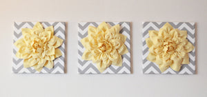 "Wall Art -Set Of Three Light Yellow Dahlia on Gray and White Chevron 12 x12"" Canvas Wall Art- 3D Felt Flower - Daisy Manor"