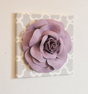 "Wall Decor - Wall Flowers -Lilac Rose on Neutral Gray Tarika Print 12 x12"" Canvas Wall Art- Baby Nursery Wall Decor- - Daisy Manor"