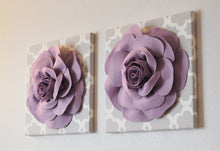 Load image into Gallery viewer, Three Lilac Rose on Neutral Gray Tarika Canvases - Daisy Manor