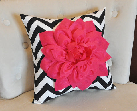 Hot Pink Dahlia on Black and White Zigzag Pillow -Chevron Pillow-