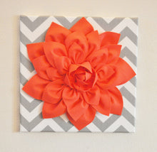"Load image into Gallery viewer, Wall Flower Decor -Coral Dahlia on Gray and White Chevron 12 x12"" Canvas Wall Art- Baby Nursery Wall Decor- - Daisy Manor"