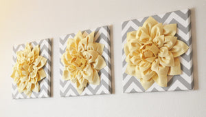 "Wall Flower Decor -Coral Dahlia on Gray and White Chevron 12 x12"" Canvas Wall Art- Baby Nursery Wall Decor- - Daisy Manor"